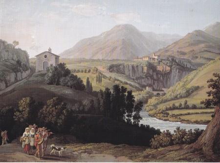 J. P. Hackert (1780): Veduta di una parte del Convento di S. Cosimato, venendo da Vicovaro sulla via Valeria
