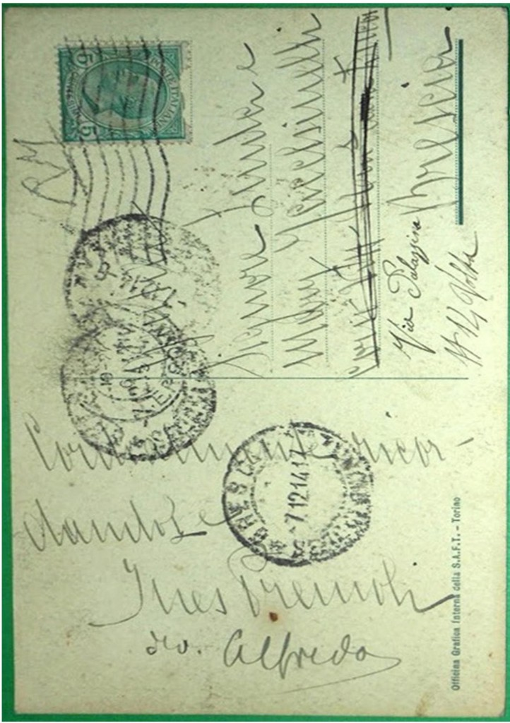 """Retro della cartolina """"Tivoli-Tempietto a Giano"""", viaggiata 1914."""