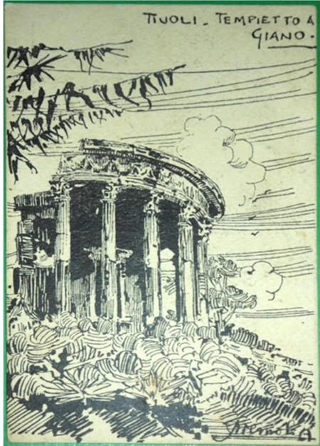 """""""Tivoli-Tempietto a Giano""""- firmata Aremoli A., ante 1914."""