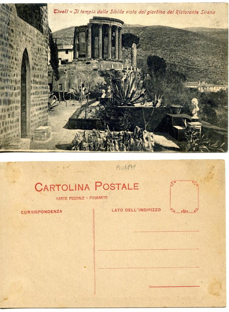 """""""Tivoli -Il Tempio della Sibilla visto dal giardino del Ristorante Sirena"""" (circa 1920, courtesy Roberto Borgia 2017)"""