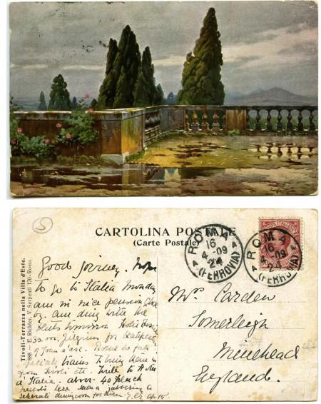"""""""Tivoli-Terrazza nella Villa d'Este"""". 888 - E. Richter, V. Serpenti 170-Roma. (ante 1924, courtesy Roberto Borgia, 2017)"""