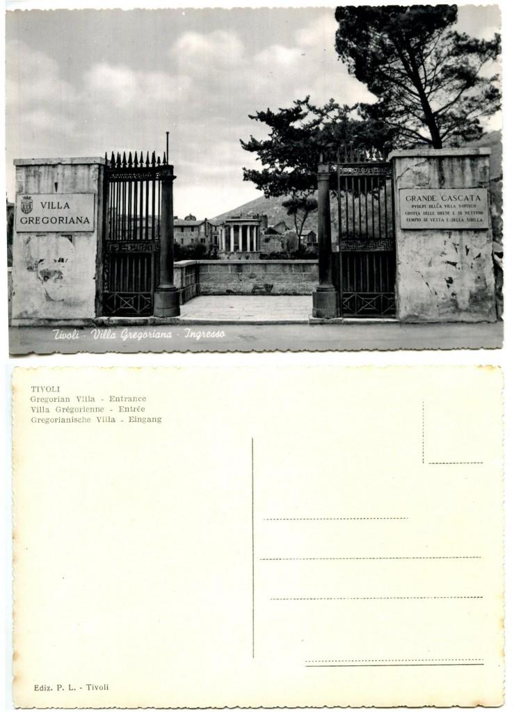 """Tivoli-Villa Gregoriana-Ingresso"" Ediz. P(rovizi) L(epanto)-Tivoli (courtesy Roberto Borgia, 2017)"