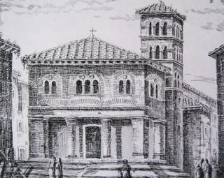 Ricostruzione dell'aspetto originario della Chesa (V. Pacifici e A. Morelli)