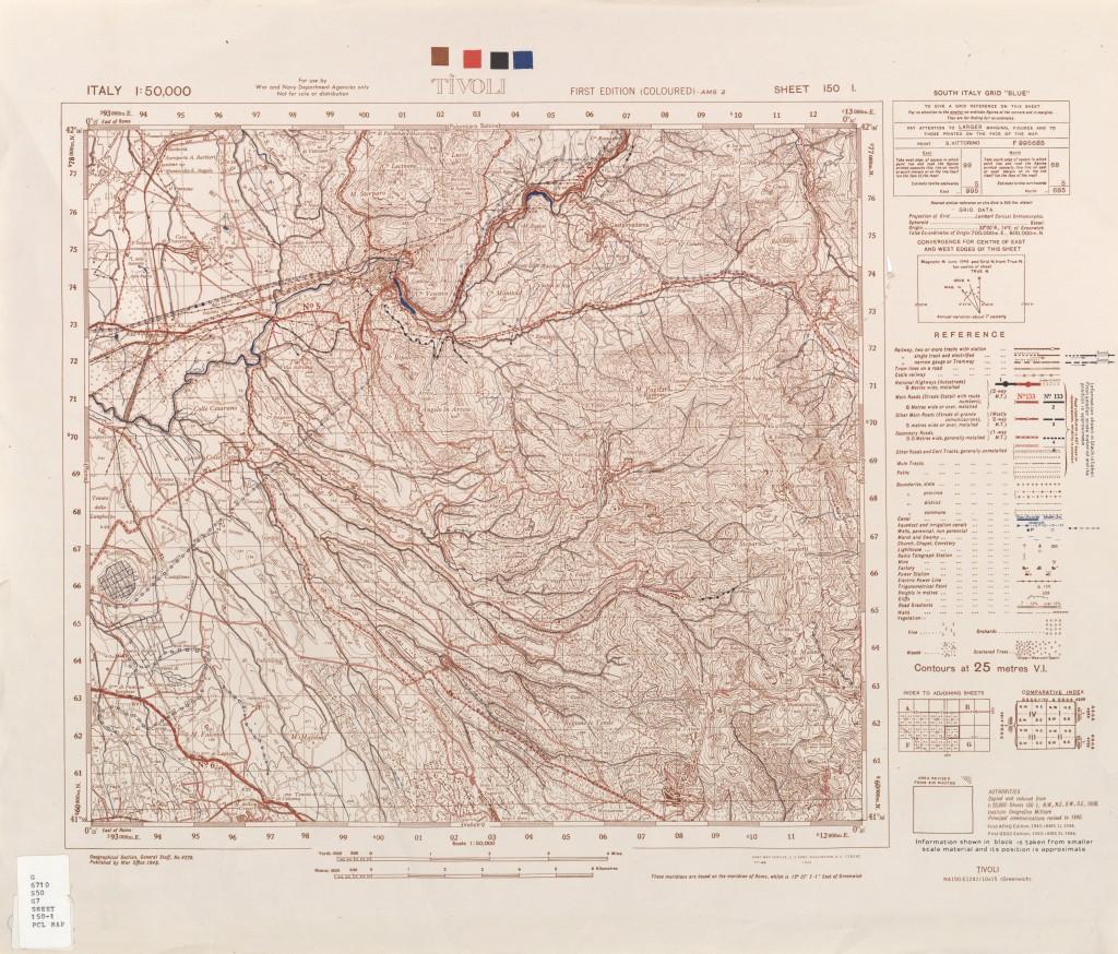 Mappa USA di Tivoli della seconda guerra mondiale.