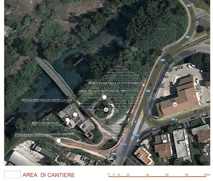Fig. 1. Area di cantiere del mausoleo