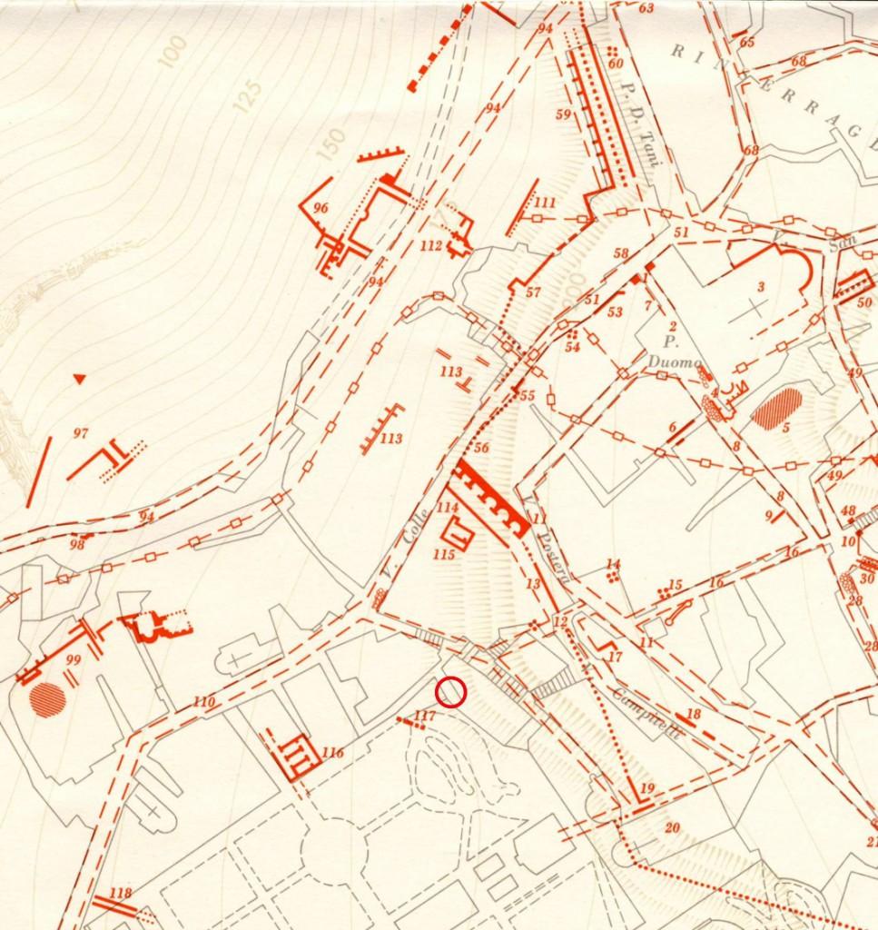Fig. 1. Localizzazione del rinvenimento (cerchietto rosso) nella Carta Archeologica di Tivoli (da C.F. Giuliani 1970)