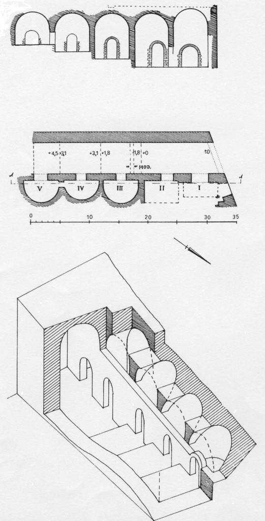 """Fig. 5. """"Mercato coperto"""": pianta, sezione e assonometria di A. Boëthius (1932)"""