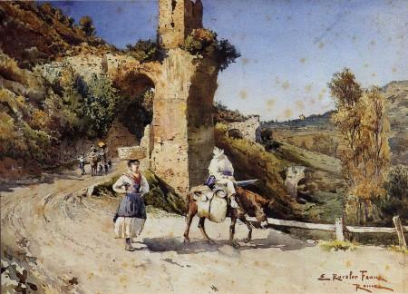 """Fig. 9. """"Via Empolitana"""", di Ettore Roesler Franz, acquerello, 1892, collezione privata."""
