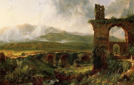 """""""A View near Tivoli (aka Morning), (Una veduta presso Tivoli, anche nota come Mattino) di Thomas Cole, olio su tela,1832, Metropolitan Museum of Art, New York,"""